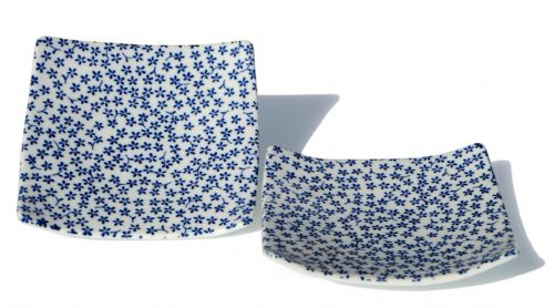 Square Japanese Blue Mini Flower plate 13.5cm X2